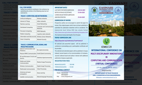 International Conference on Multi Disciplinary Innovations in Computing and Communication